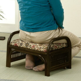 正座椅子 ラタン スツール ロータイプ 座面高24cm ( 送料無料 イス チェア アジアン )