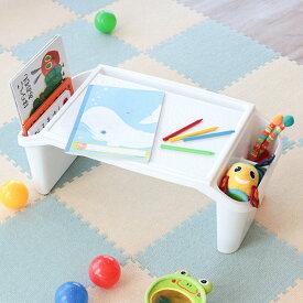 机 子供用 チャイルドデスク プラス プラスチック製 日本製 ( 子ども用 キッズ テーブル 幼児 白 ホワイト 滑り止め ローテーブル 簡易 絵本ラック おもちゃ収納 ベッドテーブル )