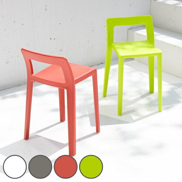 ローチェア スタッキングチェア 軽量 コンパクト ENOTS 座面高40.5cm ホワイト ( 送料無料 椅子 ミニマルチェア 積み重ね 樹脂製 シンプルデザイン 省スペース ダイニング チェアー )