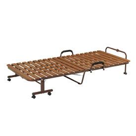 折りたたみベッド シングル 幅97cm 樹脂すのこ 手すり付き 折り畳み ベッド ( 送料無料 すのこ 折りたたみ シングルベッド 折りたたみベット すのこベッド キャスター 通気性 湿気対策 介護 簡易ベッド 折り畳みベッド )