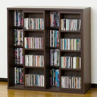 CD框书架放映装置架子深型幅90cm棕色(放映装置式DVD袖珍本文集漫画收藏搁板公开力士骑书架书架CD、纵深34cm)