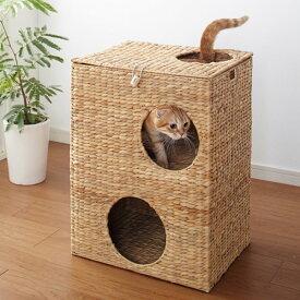 キャットハウス 2段 ちぐら風 天然素材 ウォーターヒヤシンス 幅45cm ( 送料無料 ネコ ねこ ペット用品 猫 ペットハウス キャットウォーク キャットトンネル つめとぎ つめ磨き 爪とぎ おもちゃ ペットグッズ ネコ用 完成品 )