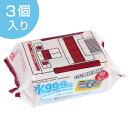 スーパーマリオ 日本製 ウエットティッシュ 水99% 80枚入り 3個入り ( パラベンフリー 水 お手拭 )