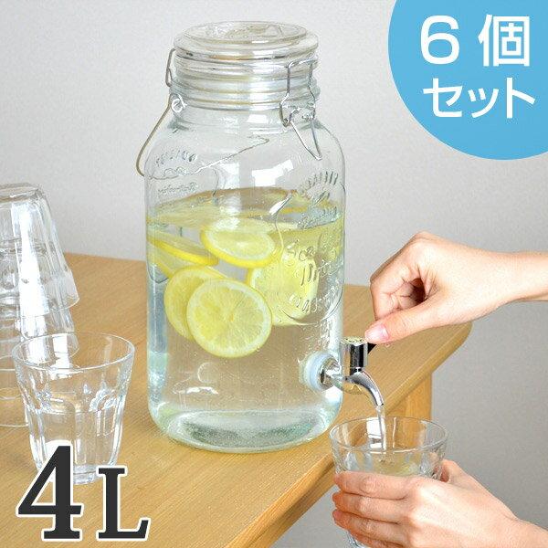 ドリンクサーバー 4L ガラス 蛇口付き 6個セット ( 送料無料 梅酒 果実酒 ウォーターサーバー ガラス瓶 ガラス製 瓶 サングリア ジュース作り ドリンクディスペンサー )