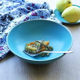 ボウル 21cm Blueシリーズ 陶器 食器 笠間焼 日本製 ( 食洗機対応 お皿 電子レンジ対応 皿 カレー皿 パスタ皿 カレー パスタ 深皿 中皿 大皿 洋食器 青 トルコブルー おしゃれ )