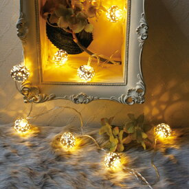 ガーランドライト LEDライト レスイヴェール ボール 10球 ( ライト led 電池式 イルミネーションライト 間接照明 飾り 電飾 ストリングライト ガーランド デコレーション 誕生日 キャンプ クリスマス ハロウィン )