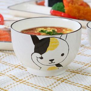 汁椀 340ml 大 Helloあにまる ねこ 食器 日本製 ( 電子レンジ対応 食洗機対応 お椀 うつわ 猫 ネコ 猫柄 三毛猫 椀 器 )