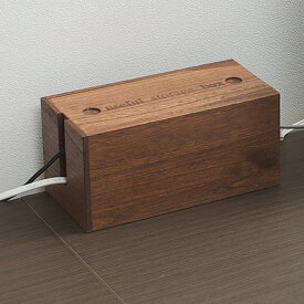桐ケーブルボックス ミニ ブラウン色(タップボックス ケーブル 収納 電源タップ コードケース コンセント テーブルタップボックス 延長コード 整理 日本製 国産 木製 おしゃれ OAタップ )