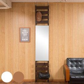 ミラー 鏡 突っ張り 立体ミラーラック 幅40cm ハイタイプ ラダーラック 収納 ウォールミラー ( 送料無料 つっぱり ラック 壁面収納 壁面ミラー 姿見 全身 壁掛け かがみ 突っ張りラック 壁掛けミラー フック付き 玄関 洗面所 部屋 )