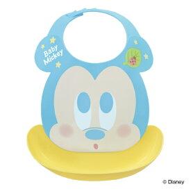 ベビーエプロン ミッキーマウス ビブ ポケット付き プラスチック ( お食事エプロン ベビースタイ ベビー 赤ちゃん エプロン スタイ 食事用 食事 よだれかけ 洗える 防水 男の子 ミッキー ディズニー )