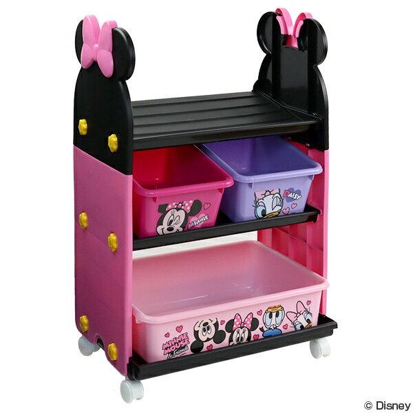 おもちゃ 収納ラック 3段 ミニーマウス トイステーション ( 送料無料 収納 棚 収納ボックス おもちゃ箱 キャスター付き おもちゃ 絵本 ラック お片付け 子供部屋 ディズニー Disney ミニー )