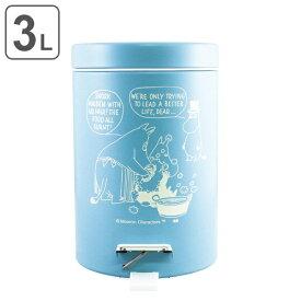 ゴミ箱 ムーミン ペダル ふた付き 3L ブルー ( ダストボックス おしゃれ 小さい スチール フタ付き ペダルペール 3リットル 縦型 円形 円型 蓋付き ペダル付き 小型 ごみ箱 )