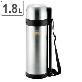 水筒 コップ付 ステンレス リフレス ダブルステンレスボトル 1.8L 1800ml ( 保温 保冷 コップ ボトル 大容量 シンプル ショルダーベルト付き 肩紐 肩ひも付き 広口 1800 水 お茶 ジム アウトドア スポーツ 部活 メンズ グレー )