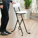 椅子 高さ調節 6段階調節 リリィチェア クッションタイプ 折りたたみ チェア スチール ホワイト×ブラックフレーム (…