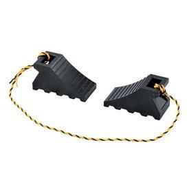タイヤストッパー 樹脂タイプ 黒 ( 送料無料 車輪止め 歯止め 車止め タイヤ止め 駐車 カーストップ トラック 安全用品 紐付き ひも付き )