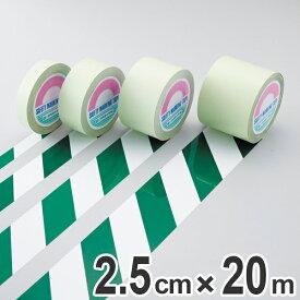 ガードテープ 白×緑 25mm幅 20m テープ 日本製 ( 安全 区域 標示 粘着テープ 区画整理 線引き ライン引き 室内 床 対応 専用 ガイドテープ テープ フロアテープ 屋内 安全用品 用品 グッズ )