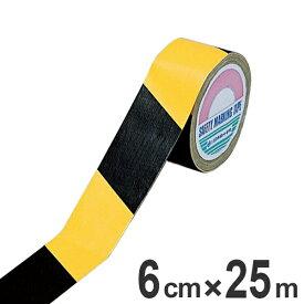 トラテープ 60mm幅 25m 布製 テープ 日本製 ( 布 トラ 柄 トラ模様 ラインテープ 注意喚起 立ち入り禁止 区域 標示 粘着テープ 安全用品 注意警告 注意 警告 安全 用品 グッズ 現場 倉庫 工場 作業内 業務用品 )