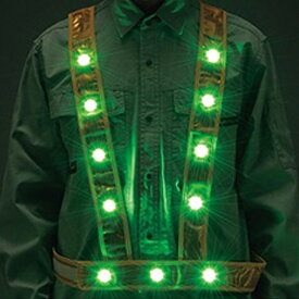 反射ベスト LED 電球色 グリーン タスキ型 ベスト 反射 防犯パトロールベスト フリーサイズ ( 送料無料 防犯パトロール 防犯 パトロール 反射タイプ 夜間作業 駐車場 ショートベスト 夜間 作業 交通パトロール LEDライト 安全用品 )