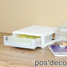 収納ケース ポスデコ A4サイズ 浅型1段 卓上 ( 収納ボックス 卓上収納 レターケース )