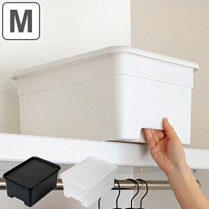 収納ボックス M 幅29×奥行40×高さ19cm オンボックス フタ付き プラスチック 日本製 ( キッチンストッカー ストッカー 収納ケース 収納 ケース 取っ手付き ふた付き ボックス 吊り戸棚 キッチ