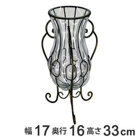 ガーデン フラワーベース 幅17×奥行16×高さ33cm ( 花瓶 花器 花びん インテリア 雑貨 フラワーアレンジ 植物 ドライフラワー お花 花 インテリア雑貨 アンティーク調 ガラス )