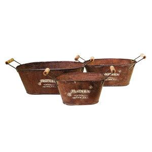 ガーデニング バケツオーバル 3個セット アンティーク調 ( 植木鉢 フラワーポット 鉢植え おしゃれ 玄関 庭 ガーデン 園芸 屋外 ディスプレイ オーバル型 )