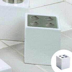 歯ブラシスタンド ホワイトキューブ ハブラシスタンド ( 歯ブラシ立て 置き型 陶器製 歯ブラシホルダー 歯ブラシ置き 洗面所 サニタリー 収納 )
