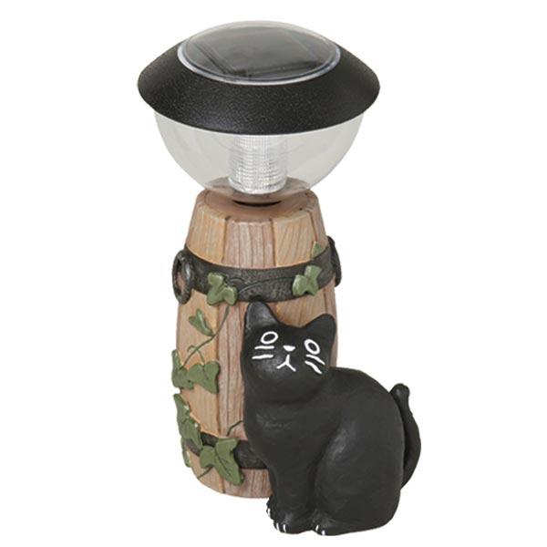 ガーデンオーナメント ソーラーライト 猫 バーレル 小 ( 送料無料 オーナメント ガーデンライト エクステリア ライト 置物 飾り ガーデン おしゃれ セトクラフト )