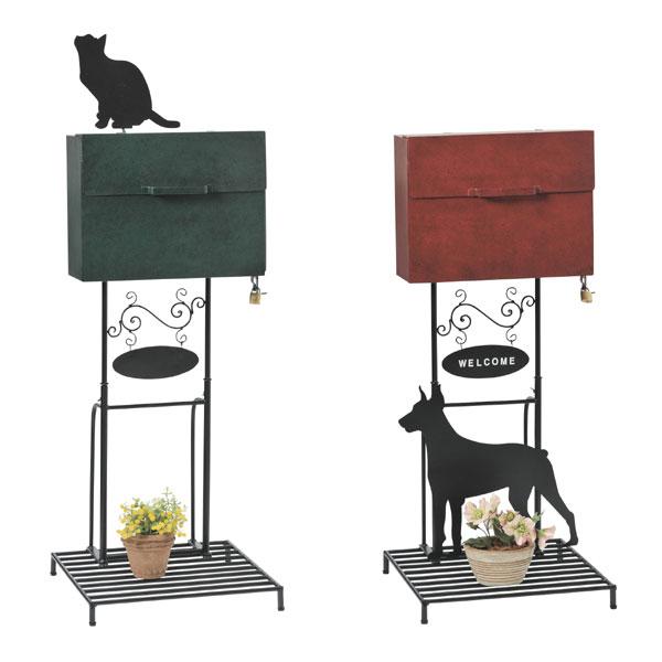 郵便ポスト スタンドポスト Dog Cat ( 送料無料 ポスト メールボックス 郵便受け 新聞受け POST 犬 いぬ DOG 猫 ねこ ネコ CAT セトクラフト )