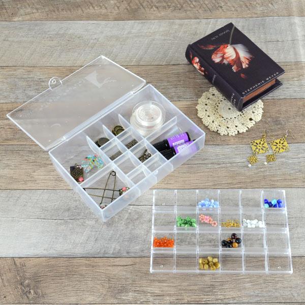 入れ アクセサリー収納 アクセサリーケース 小物収納 収納ボックス プラスチックケース 透明 ビーズ収納 パーツ収納 仕切り付き ビーズアクセサリー  ハンドメイド