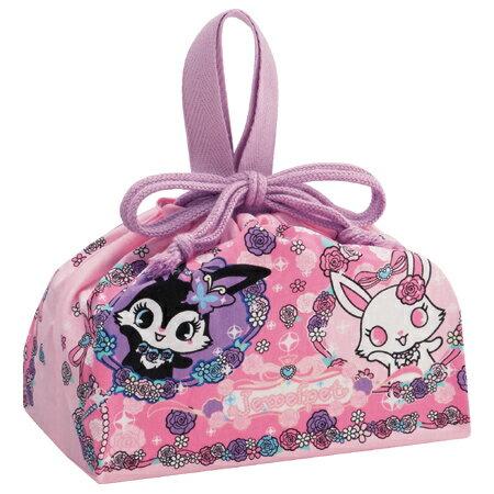 ■在庫限り・入荷なし■(キャラアウトレット)お弁当袋 ランチ巾着 ジュエルペット パープル&ピンク 子供用 キャラクター