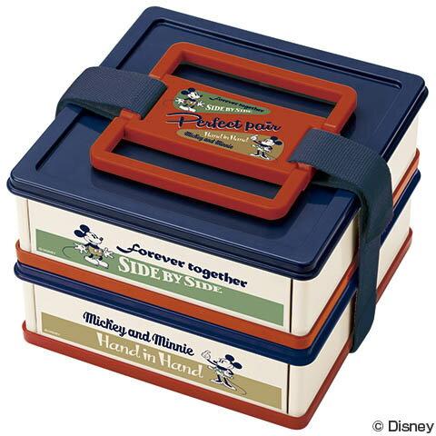 お弁当箱 ピクニックケース 折りたたみ ミッキーマウス バッジコレクション 上下段同形状 2個タイプ ( 行楽 ピクニック 折り畳み ランチボックス ミッキー ディズニー 重箱 2段 ピクニックボックス キャラクター )