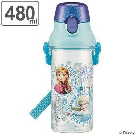 水筒 アナと雪の女王 直飲み プラスチック 480ml 子供 キャラクター ( 食洗機対応 幼稚園 保育園 軽量 プラスチック製 ワンプッシュボトル 子供用水筒 ダイレクトボトル マグボトル すいとう キャラクター 透明 子供用 子ども )