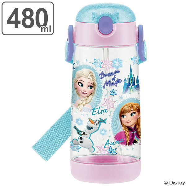 水筒 ストローホッパー ワンプッシュボトル アナと雪の女王 子供 プラスチック製 480ml ( 軽量 プラスチック ストロー 子供用水筒 ダイレクトボトル マグボトル すいとう 直飲み 透明 クリア 子供用 子ども用 )