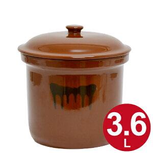 漬物容器 切立かめ 2号 3.6L 蓋付き 陶器 ( 漬物樽 つけもの容器 漬け物容器 ぬか漬け 漬けもの 漬物器 かめ 壺 保存容器 )