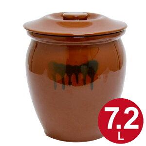 漬物容器 丸かめ 4号 7.2L 蓋付き 陶器 ( 送料無料 漬物樽 つけもの容器 漬け物容器 ぬか漬け 漬けもの 漬物器 かめ 壺 保存容器 )