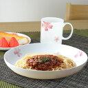 深皿 桜 深型プレート 22cm ボーンチャイナ 食洗機対応 ( お皿 プレート 食器 電子レンジ対応 磁器製 さくら )