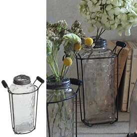 フラワーベース アイアンボトルベース Lサイズ ( 花瓶 花器 ガラス エアプランツ 多肉植物 ガーデン )