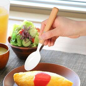 スプーン 19cm ナチュラルブラン Natural Blanc デザートスプーン ステンレス製 ホーロー 天然木 日本製 ( テーブルスプーン 洋食器 カトラリー 琺瑯 白 木 おしゃれ かわいい 木目 ナチュラル )