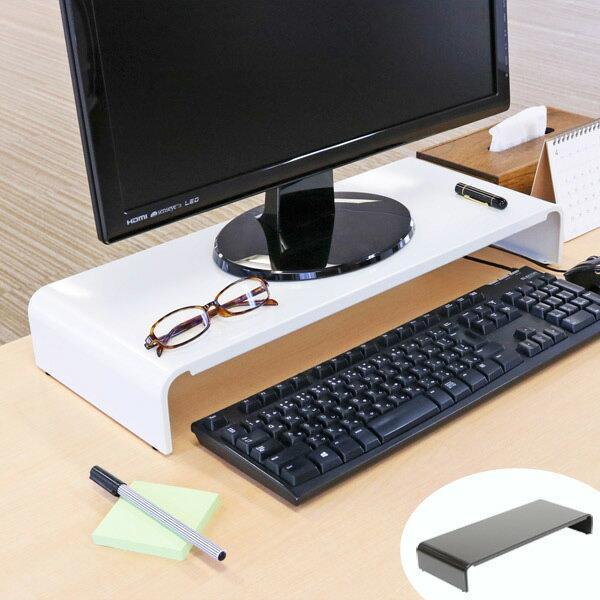 モニタースタンド パソコンラック 卓上 pc台 机上 スチール製 幅54cm ( モニター台 モニターラック パソコン キーボード 収納 PC スタンド モニター ホワイト ブラック オフィス デスクトップ ラック 台 ディスプレイ )
