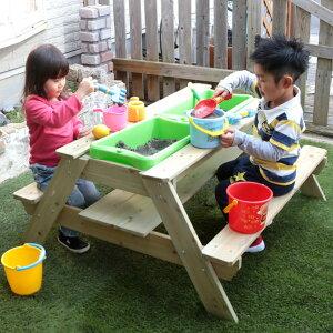 天然木 テーブル 砂場テーブル ガーデンテーブル ベンチ付 ( 送料無料 サンドテーブル サンドボックス 砂場 砂遊び 砂あそび 砂場遊び 外遊び 子供 庭 屋外 遊具 砂場ベンチ 泥遊び キッズ