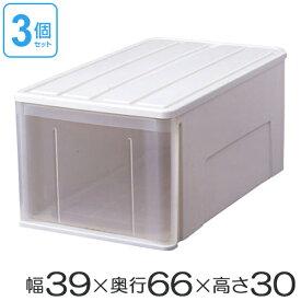 たっぷり収納ケース66L 3個セット(プラスチック衣装ケース クローゼット収納ケース 激安 送料無料 押入れ収納 収納ボックス 引き出し 引出し 積み重ね スタッキング 衣類収納 ディープタイプ 深型 収納庫 )