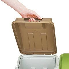 ゴミ箱ふた付き連結ハンドルペール45L