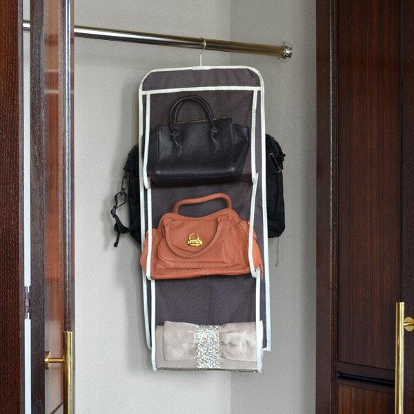 かばん収納 ハンガー カバンストッカー プラスワン ( クローゼット収納 布製 バッグ 鞄 吊るす収納 収納 ワードローブ )