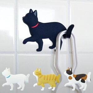 フック ネコ てくてく 吸着シート シール型フック 引っ掛け ( 粘着テープ 粘着 テープ 猫 ねこ グッズ シール型 シールタイプ 鍵フック キーフック 小物フック 小物掛け 黒猫 白猫 三