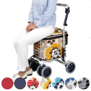 シルバーカー ワイヤーカート 座れる バッグ付き アルミ製 ショッピングカート ( 送料無料 カート 買い物カート 折りたたみ コンパクト 折り畳み 買い物 老人車 歩行補助車 歩行車