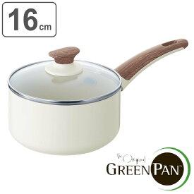 GREEN PAN グリーンパン 片手鍋 ソースパン 16cm 蓋付き WOOD-BE ウッドビー ダイヤモンド粒子配合 IH対応 ( 送料無料 ガス火対応 ミルクパン 小鍋 16センチ オーブン対応 ウッド調樹脂ハンドル 調理器具 オール熱源対応 )