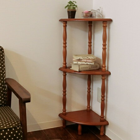 Corner Rack Three Steps ミーオシェルフ Wooden 90cm In Height (telephone Stand  Storing Rack Table Flower Stand Fan Type Display Rack)