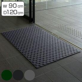 玄関マット 室内用 吸水マット ダブルウェーブ 90×120cm ( 送料無料 エントランスマット 屋内用 出入り口 室内 フチあり 縁 吸水 吸水性 速乾性 耐久性 )
