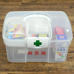 救急箱キャリング救急箱薬ケース持ち手付きトレー付き
